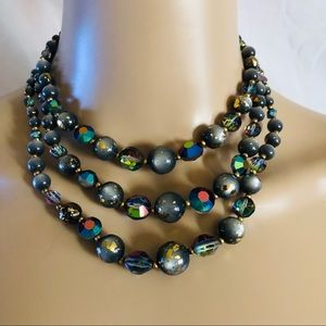 Vintage triple strand glass bead necklace